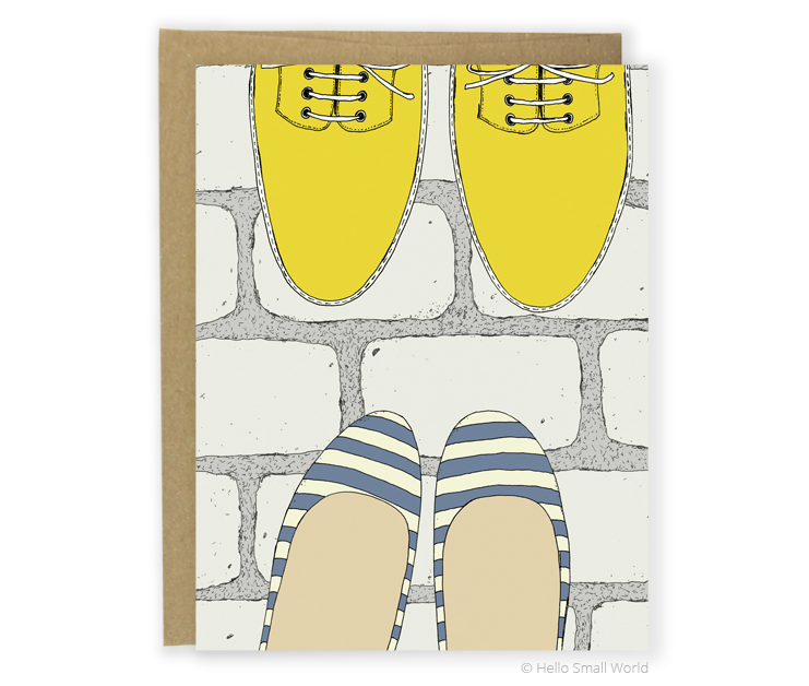 stripe flats and boots card