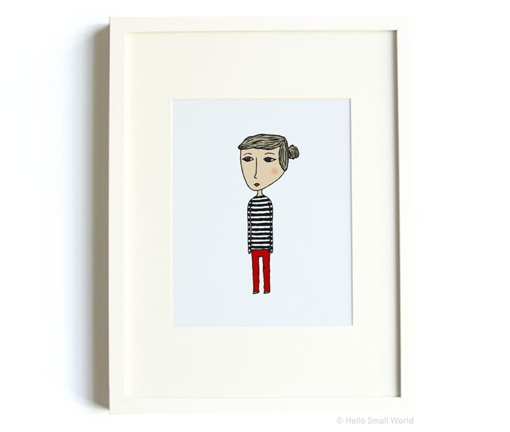 stripe girl 8x10 print