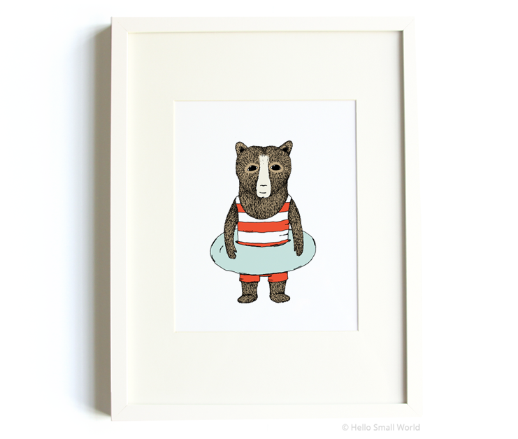 swimming bear 8x10 print