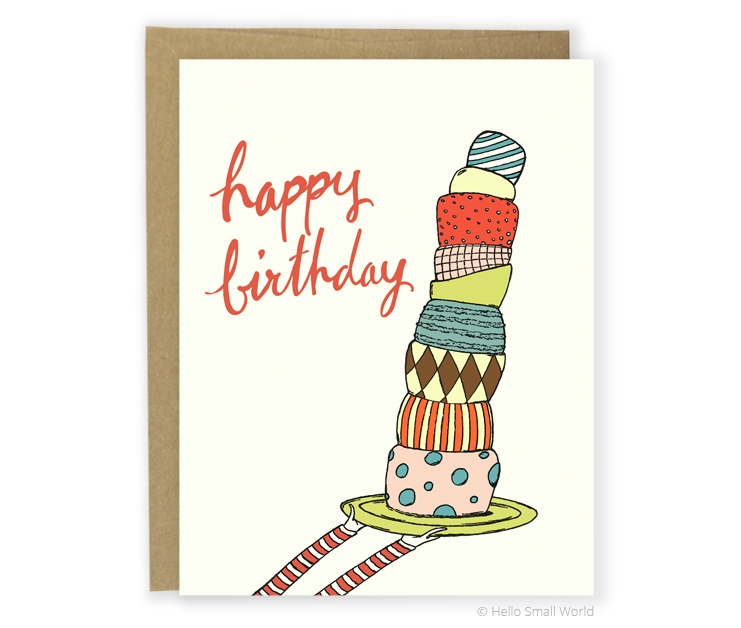 tiered cake bday card