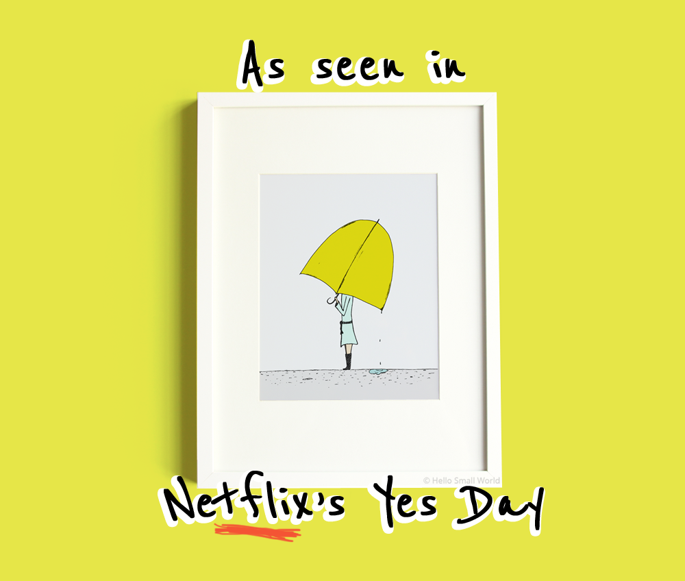 umbrella girl print as seen in Yes Day movie on Netflix on hello small world website