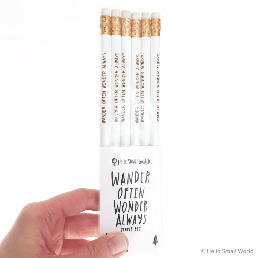 wander often wonder always pencil white with gold in packaging