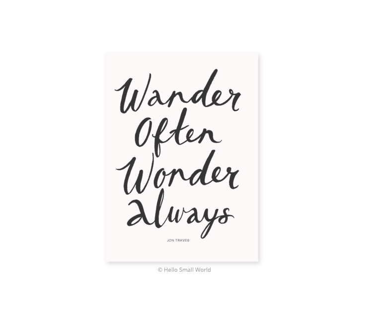wander often wonder always postcard
