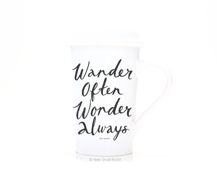 wander often wonder always travel mug