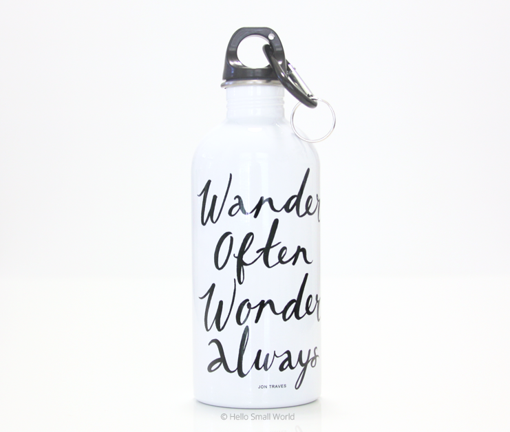 wander often wonder always water bottle