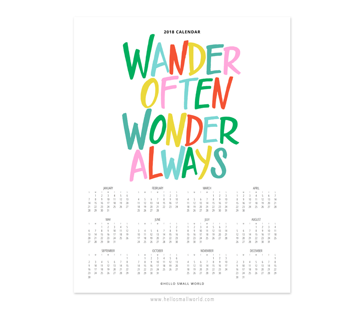 2018 wander often wonder always calendar