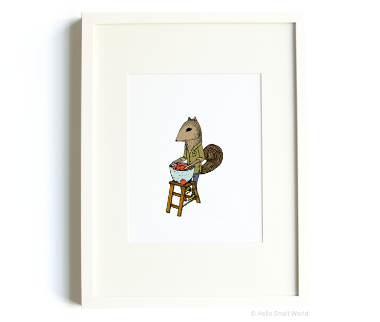 apple picking squirrel 8x10 print