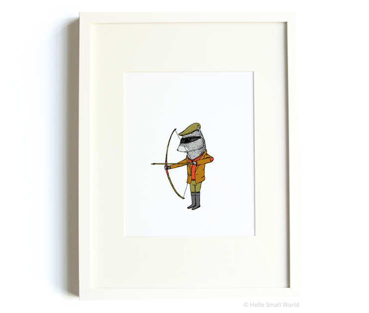 archery raccoon 8x10 print