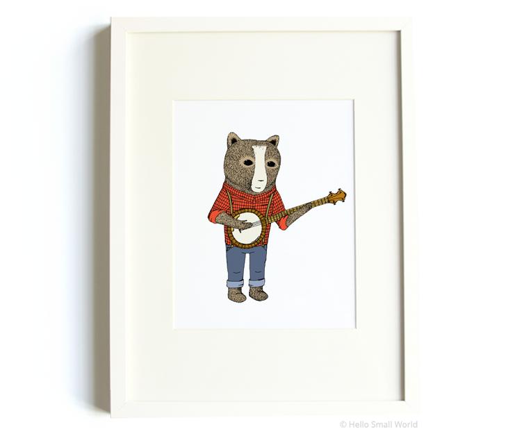 banjo bear 8x10 print