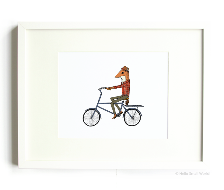 bicycle fox 8x10 print