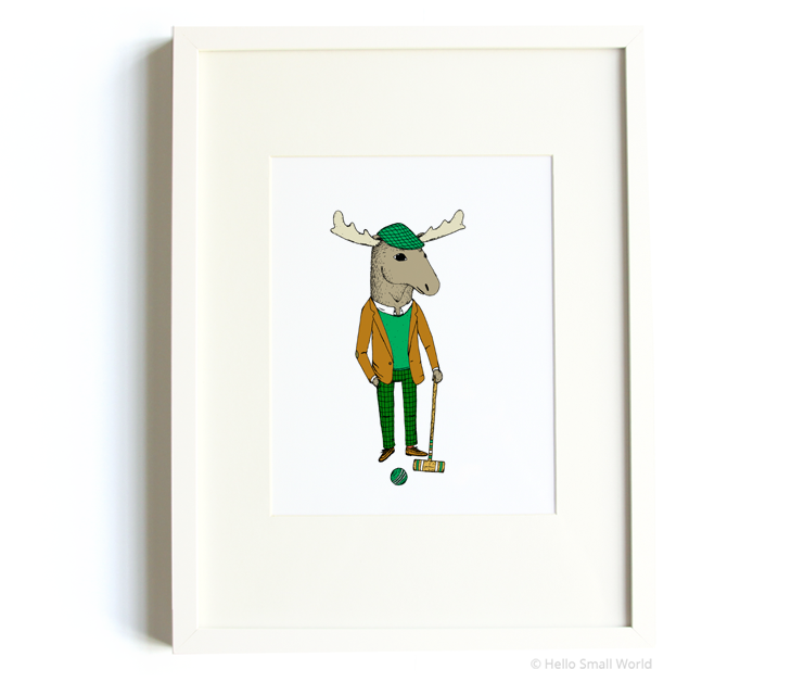croquet moose 8x10 print