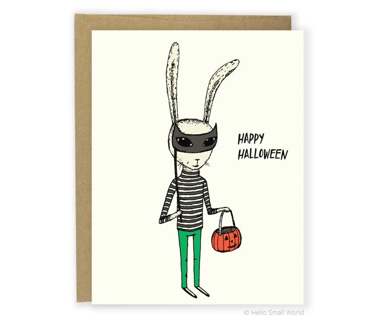 halloween masquerade bunny card