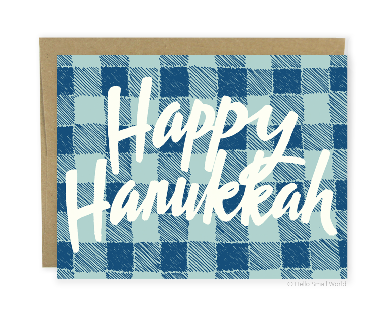 happy hanukkah plaid card