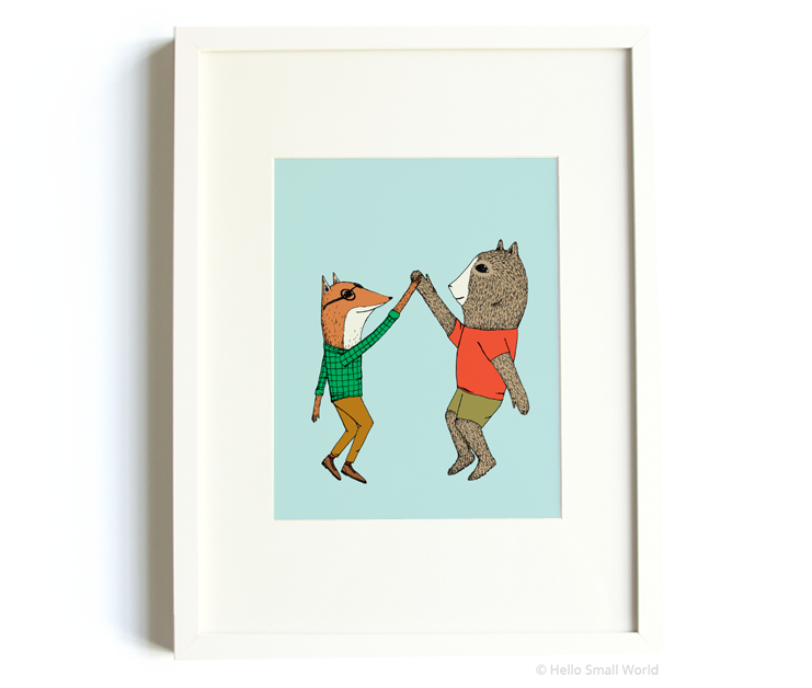 high 5 animals 8x10 print