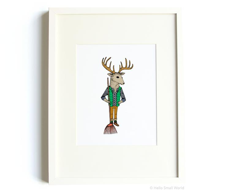 raking deer 8x10 print