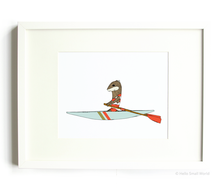 rowing otter 8x10 print