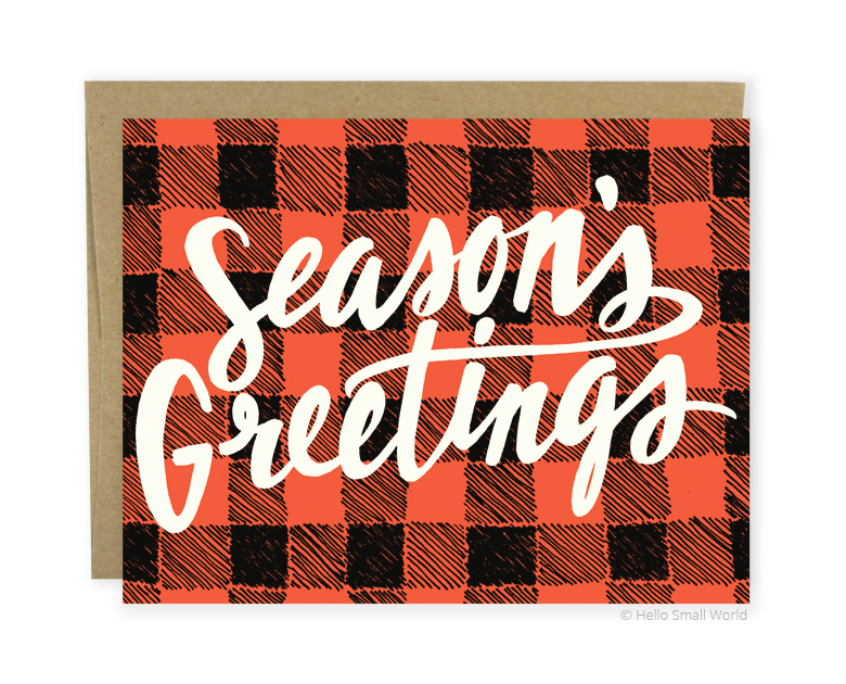 seasons greetings plaid card