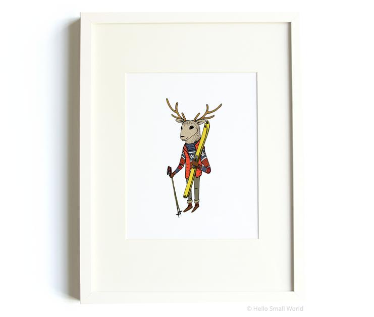 skiing deer 8x10 print