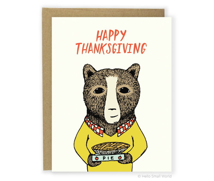 thanksgiving apple pie bear card