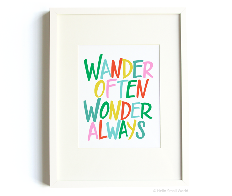 wander often wonder always bold colorful 8x10 print