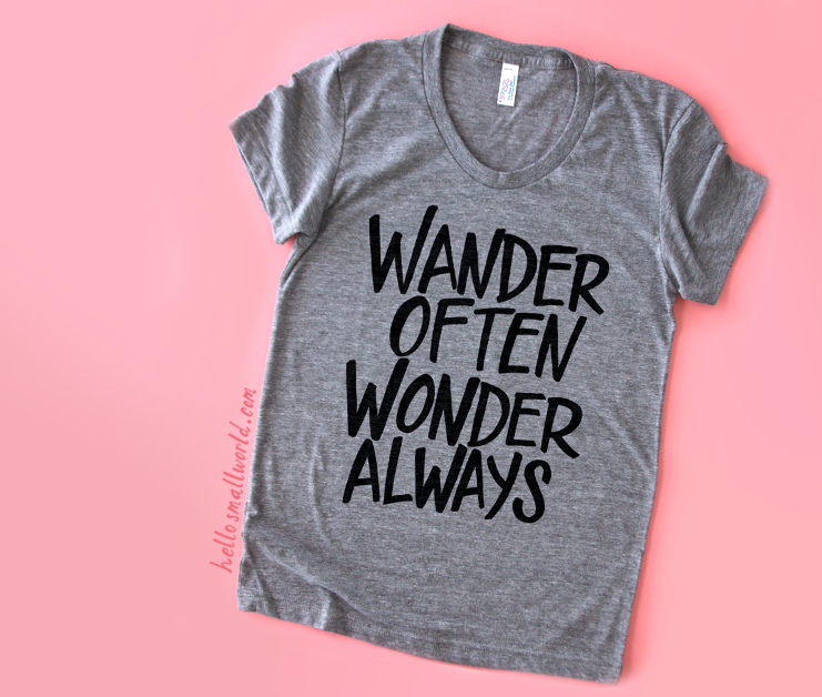 wander often wonder always t-shirt screenprinted with black ink