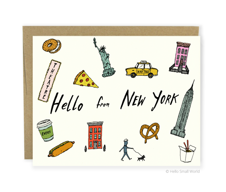 hello from new york card