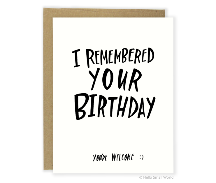 youre welcome birthday card
