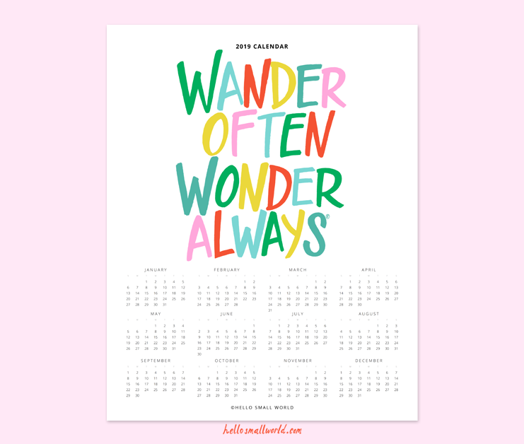 2019 wander often wonder always calendar