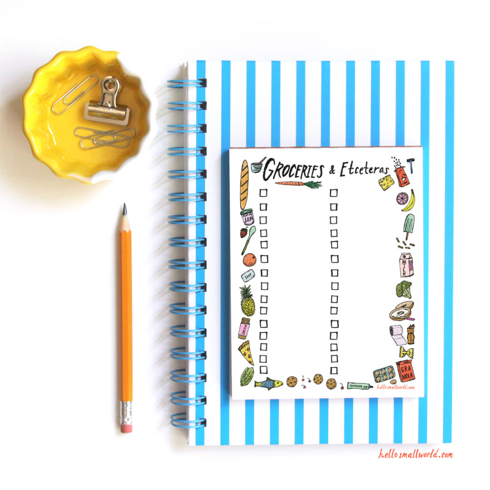 illustrated grocery notepad