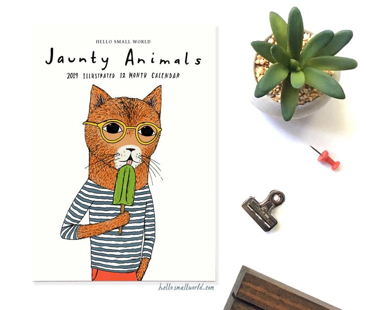 jaunty animals 2019 calendar cover