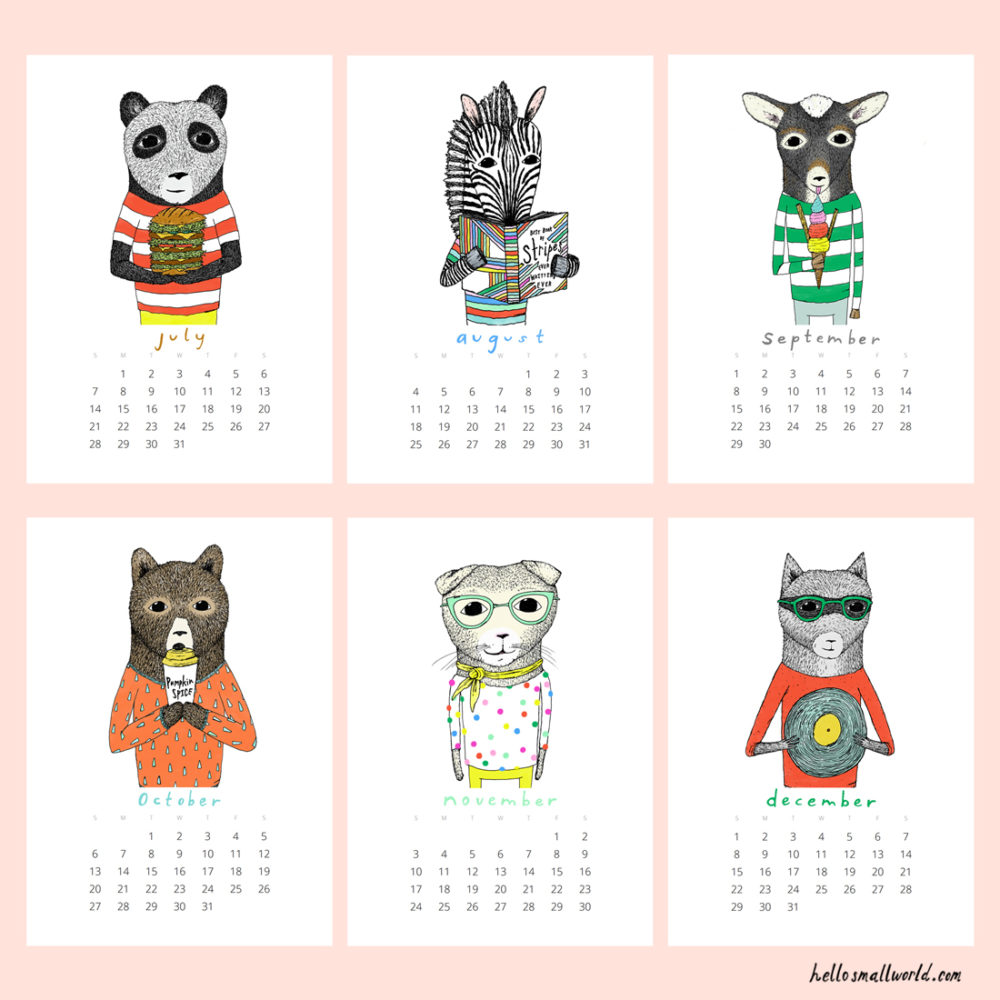 jaunty animals 2019 calendar - view of 6 months