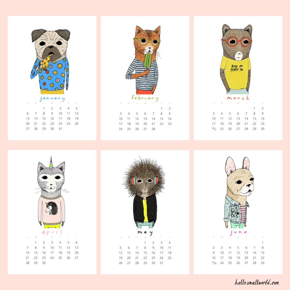 jaunty animals 2019 calendar - view of first 6 months