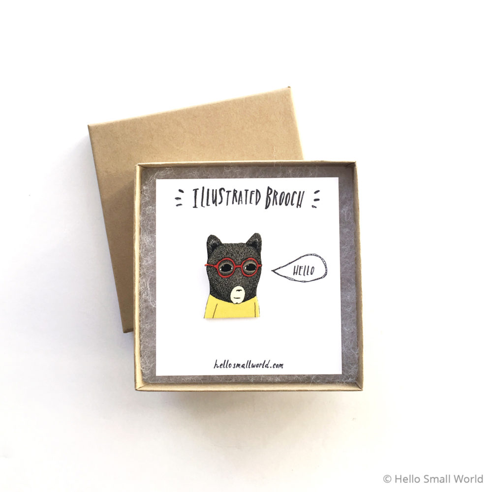 bears are people too brooch with box