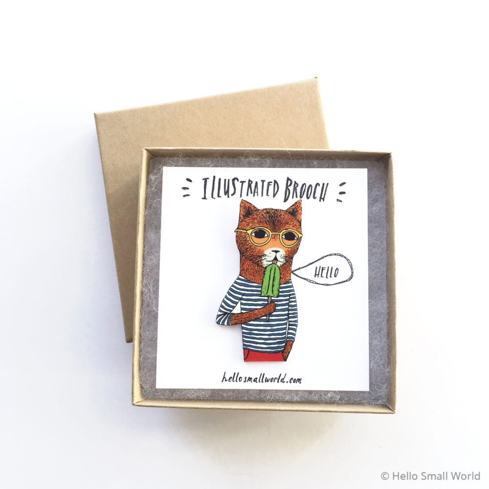 cool cat brooch in box
