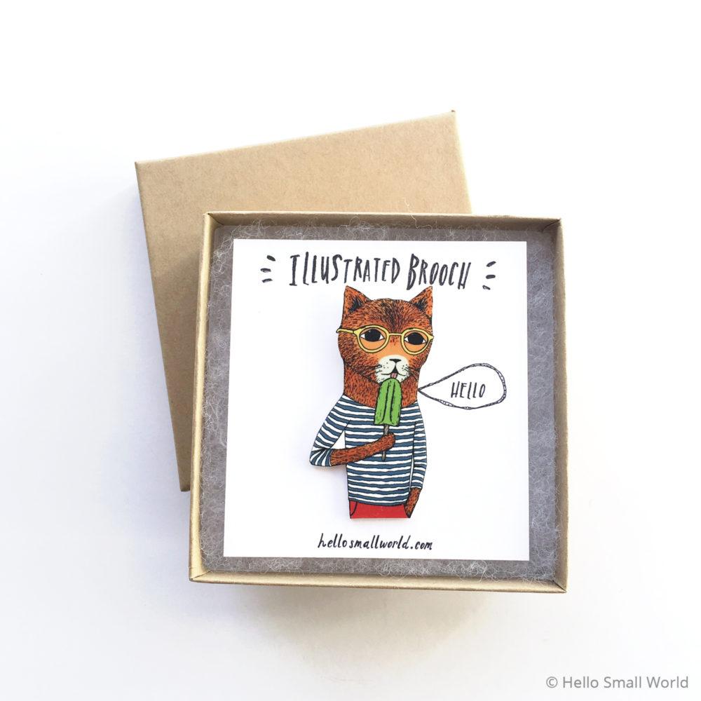 cool cat brooch in box
