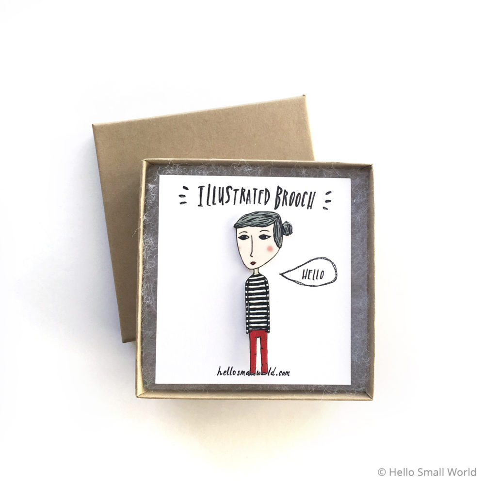 stripe girl brooch in box
