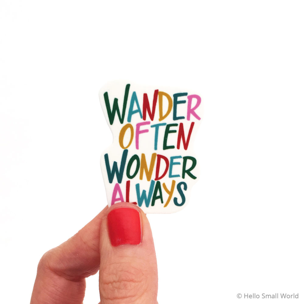 wander often wonder always colorful brooch
