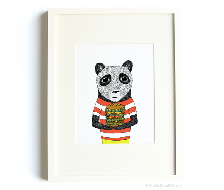 burger panda 8x10 print