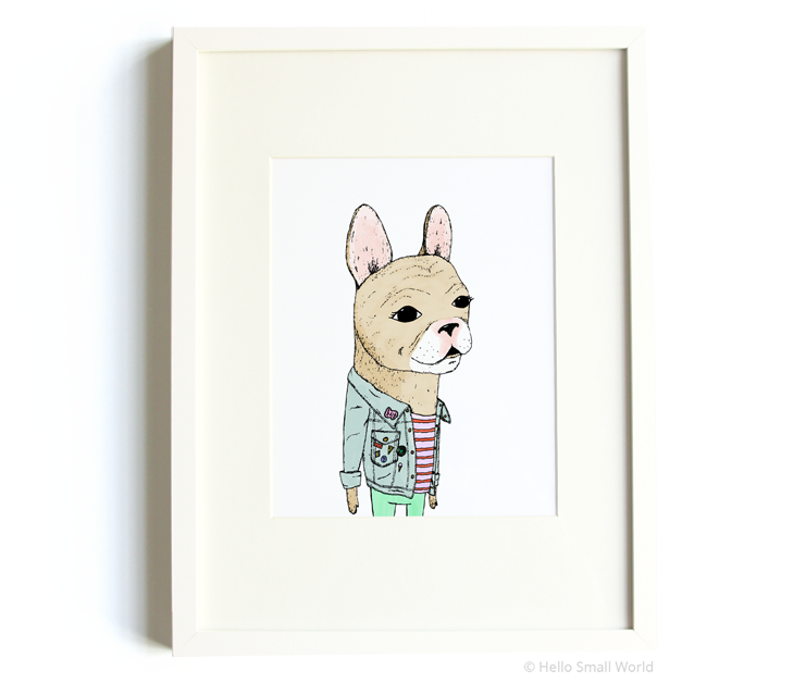 french bulldog with flair 8x10 print