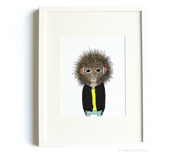 porcupine wearing headphones 8x10 print