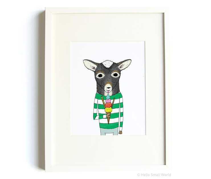 pygmy goat eating ice cream 8x10 print