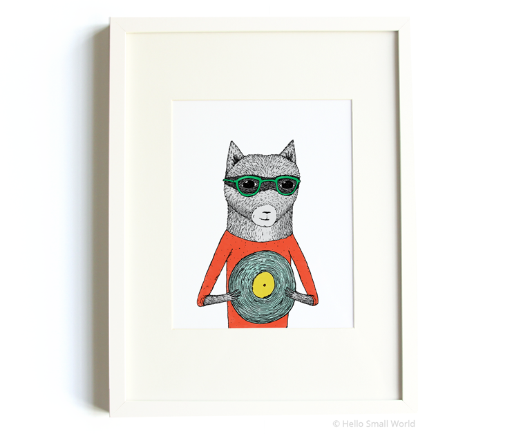 record raccoon 8x10 print