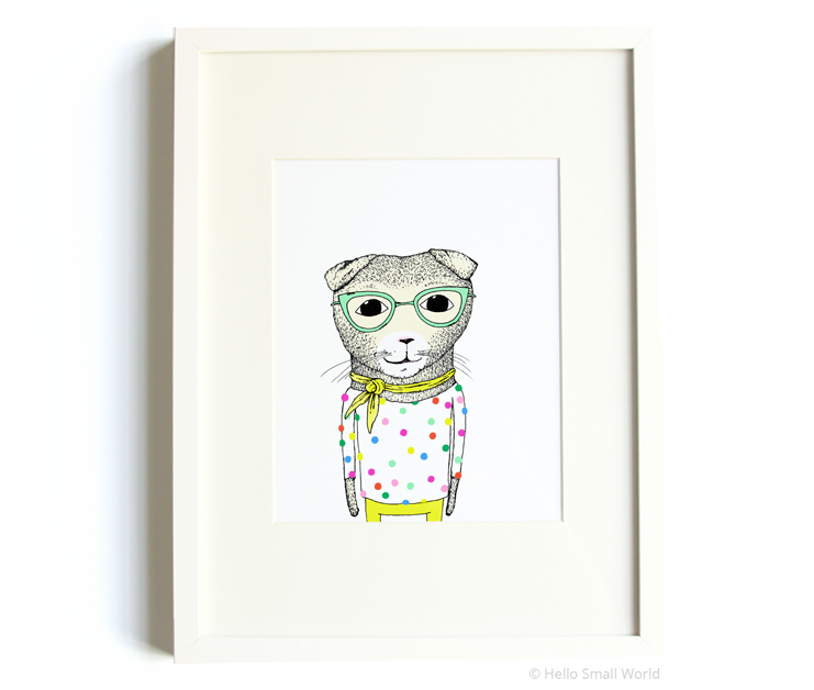 scottish fold cat with dots 8x10 print