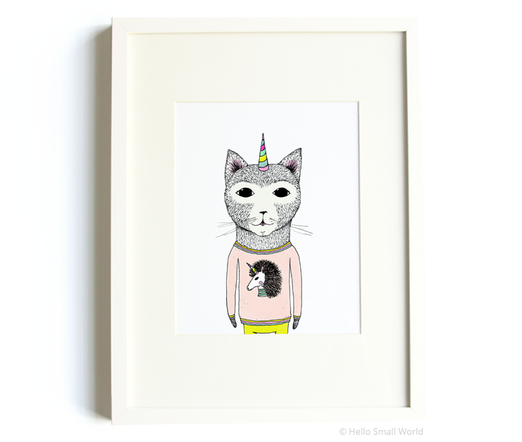 unicorn cat 8x10 print