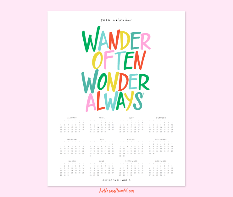 2020 wander often wonder always calendar