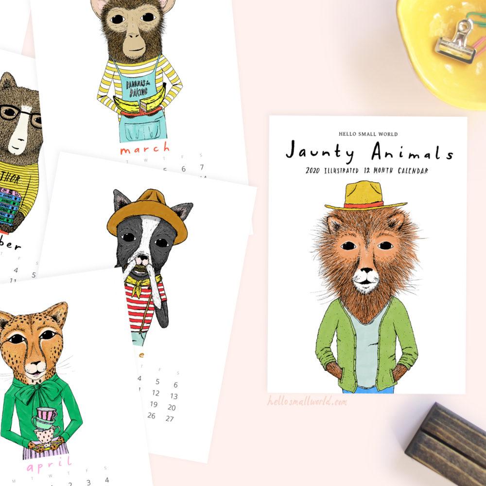 cover view of jaunty animals 2020 calendar