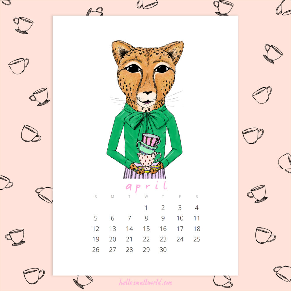 jaunty animals 2020 calendar - april ceramist cheetah