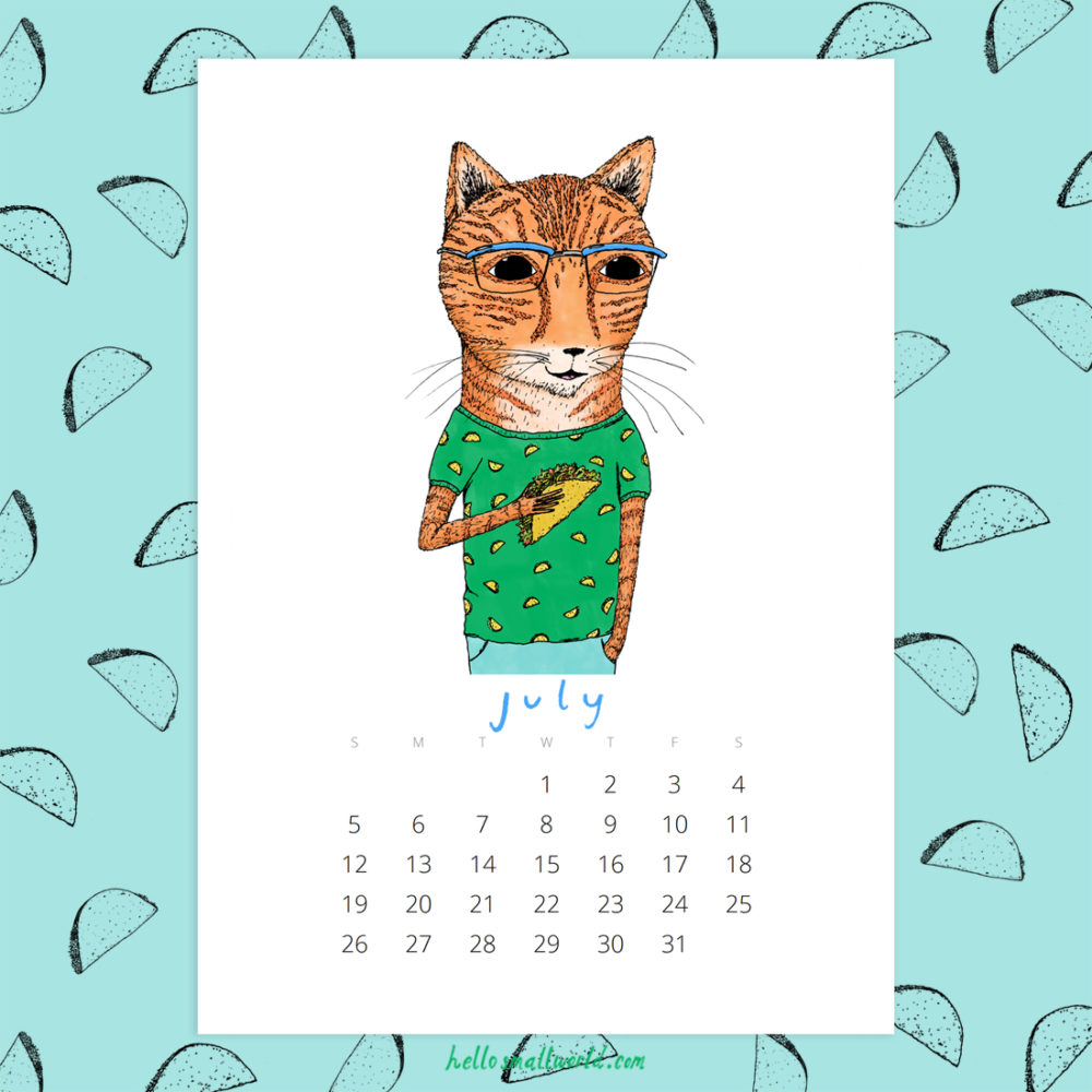 jaunty animals 2020 calendar - july taco tabby