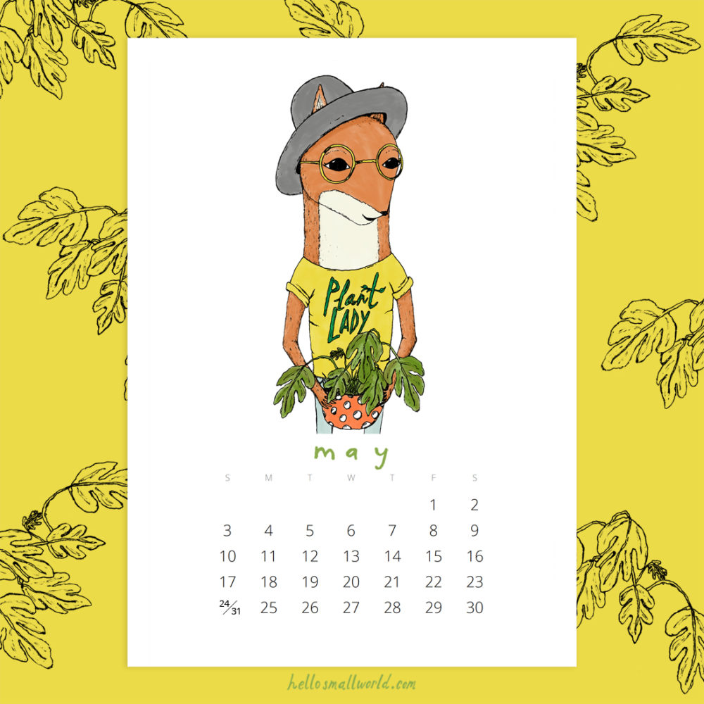 jaunty animals 2020 calendar - may plant lady fox