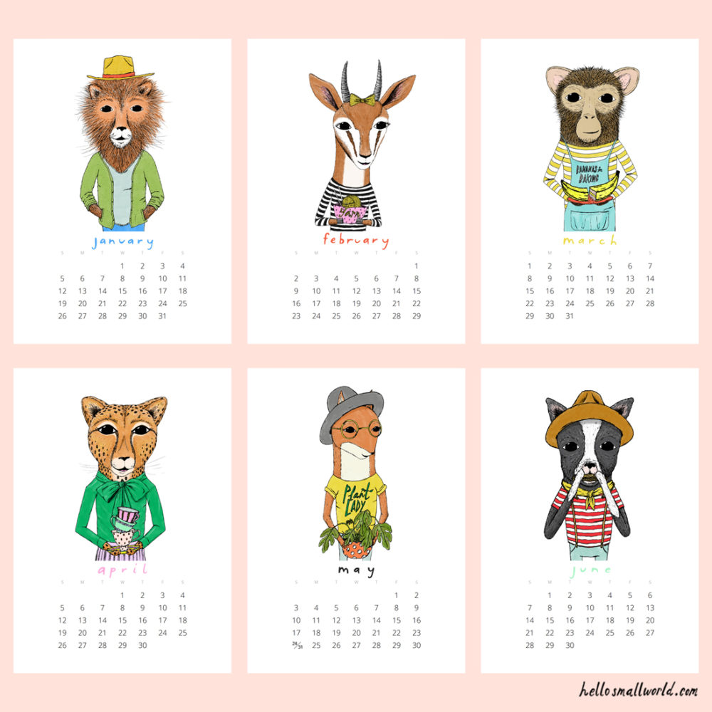 jaunty animals 2020 calendar - view of first 6 months